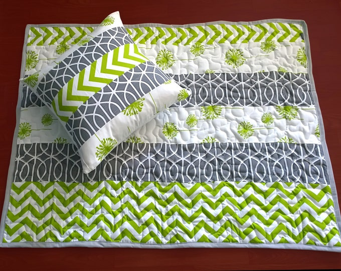 Quilted Baby Playmat - Green Multi, Ready to Ship