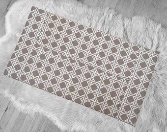 Taupe Brown Hexagon Patchwork IKEA HEMMAHOS Bench Pad Slip Cover