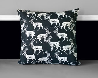 Black White Deer Stag Pillow Covers