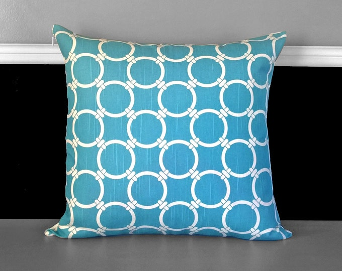 "Blue Circles Pillow Cover 17"" x 17"", Ready to Ship"