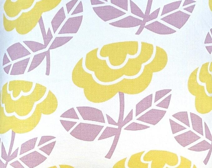 Dusty Pink Custom Linen Yellow Floral Pattern Ikea Chair Slipcovers