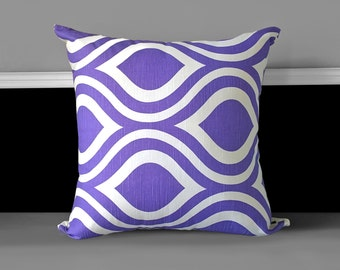 "Retro Purple Pattern 20"" x 20"" Pillow Cover, Ready to Ship"