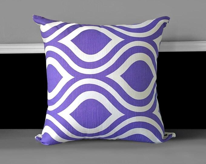 "Retro Purple Pattern 20"" x 20"" Pillow Cover, Ready to Ship"