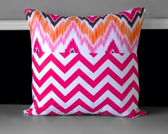 "Pink Chevron Pillow Covers 18"" x 18"""