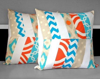 "Handmade Orange Blue Herringbone Patchwork Pillow Covers 20"" x 20"""