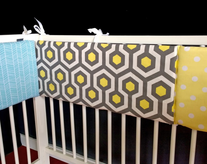 Reversible Polka Dot Geometric Cot Crib Bumper