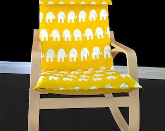 Yellow White Elephant IKEA POÄNG Cushion Slipcover
