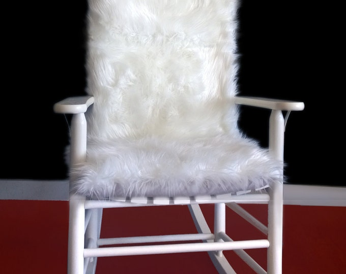 White Long Fur Rocking Chair Cushion, Synthetic Fur Rocking Chair Cover