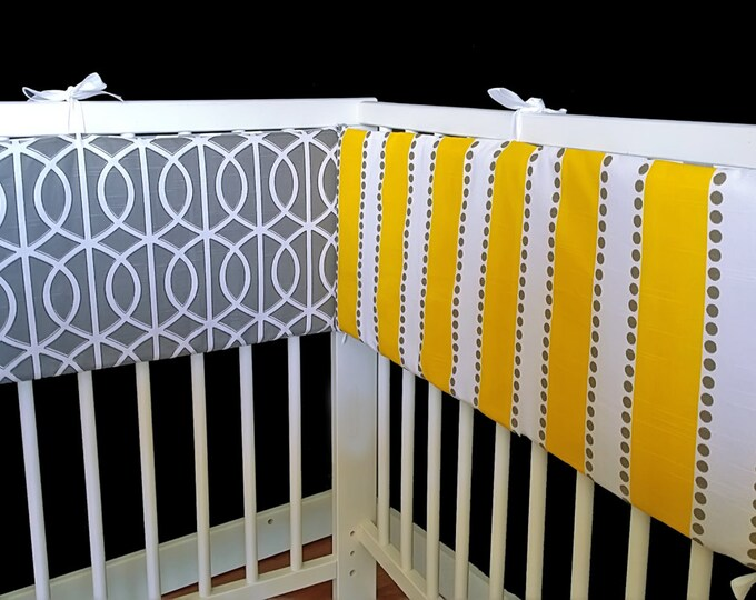 Yellow Stripe Chevron Cot Crib Bumper