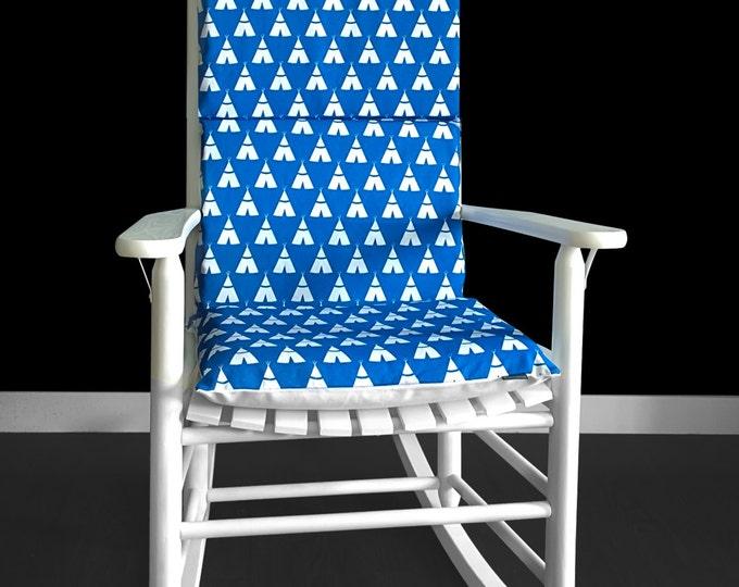 Blue Tee Pee Wig Wam Rocking Chair Cushion And Pads