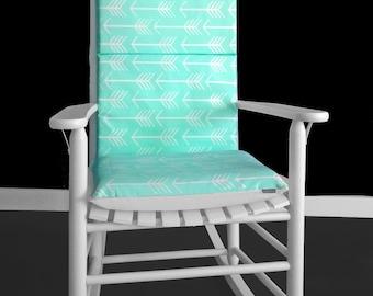Mint Arrows Custom Rocking Chair Cushion