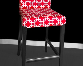 Red Geometric IKEA HENRIKSDAL Bar Stool Chair Covers