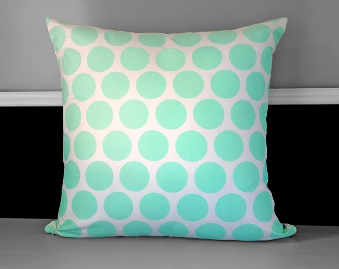 """EXTRA LARGE Euro Mint Green Polka Dot Pillow Cover 23"""" x 23"""""""