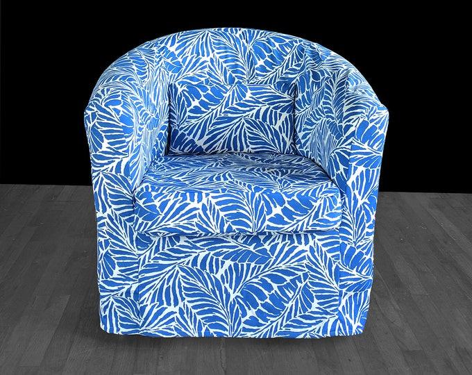 Tropical Palms Blue Custom IKEA TULLSTA Chair Slip Cover