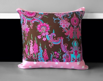 """Pink Thai Style Flower Pillow Covers, Chocolate Pink Cushion Covers 18"""" x 18"""""""