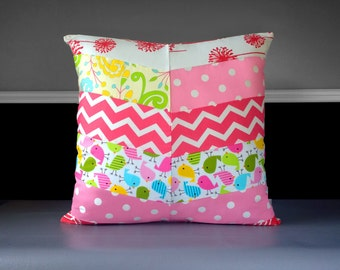 "Girl's Pink Birds Polka Dot Herringbone Pillow Cover 20"" x 20"", Ready to Ship"