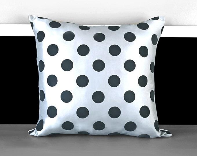 "Shiny Silver Taffeta Polka Dot Pillow Covers, 18"" x 18"", Ready to Ship"