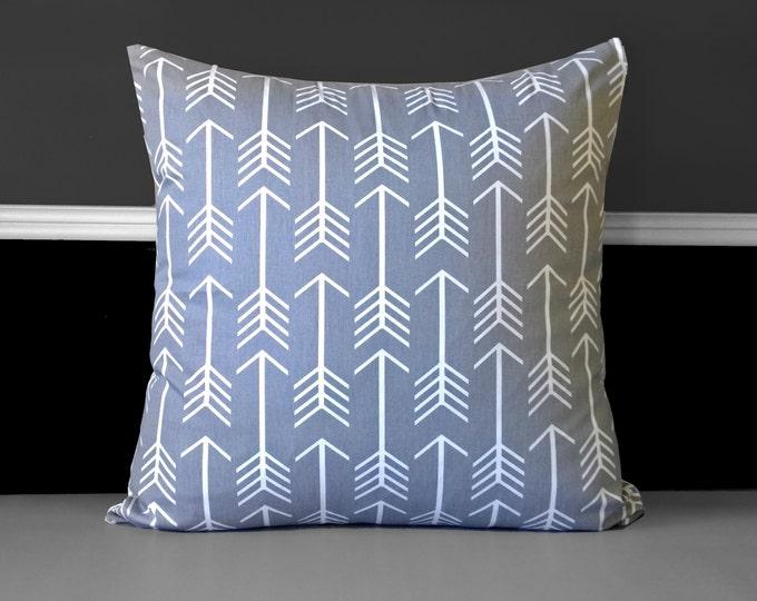 """Arrows Grey 18"""" Pillow Cover, Ready to Ship"""