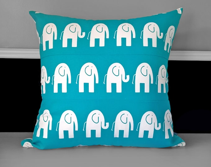 """Turquoise Blue Elephants, EXTRA LARGE EURO Pillow Cover 22"""""""
