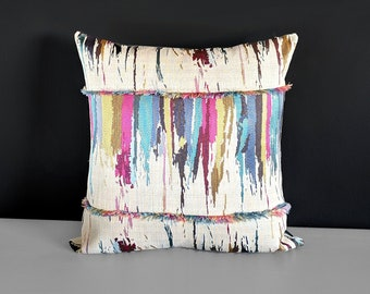 """Colorful Embroidered Metallic Gold Pillow Cover 18"""" x 18"""""""