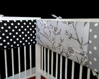 Floral Grey Black White Polka Dot Cot Crib Bumper, Ready to Ship, SALE
