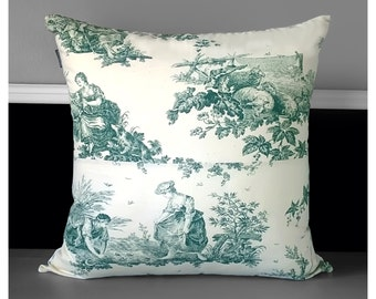 Pillow Cover - French Green Toile