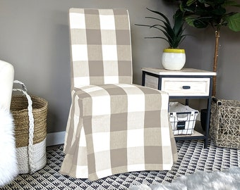 IKEA HENRIKSDAL Dining Chair Cover, Traditional Style Henriksdal Slipcover, Buffalo Check Beige