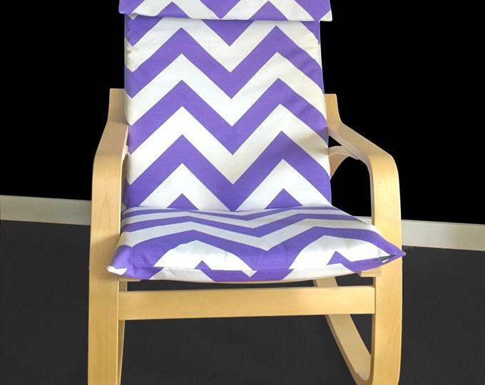 SALE Purple Zig Zag Poang Chair Cover, Purple Chevron Ikea Poang Seat Cover