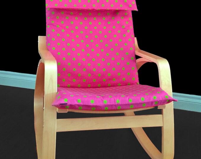 Pink IKEA POÄNG Cushion Slipcover, Green Polka Dot Custom Ikea Seat Cover