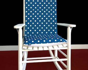 Navy Blue Polka Dot Reversible Rocking Chair Pad