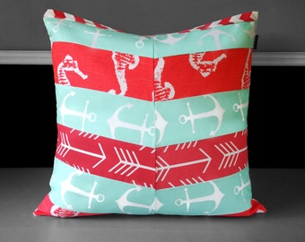 "Patchwork Mint Green Anchor Coral Pink Herringbone Pillow Cover 20"" x 20"", Ready to Ship"