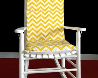 Yellow Zig Zag Chevron Rocking Chair Cover
