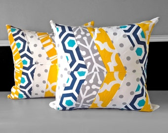 "Patchwork Yellow Blue Grey Herringbone Cushion Cover 20"" x 20"""