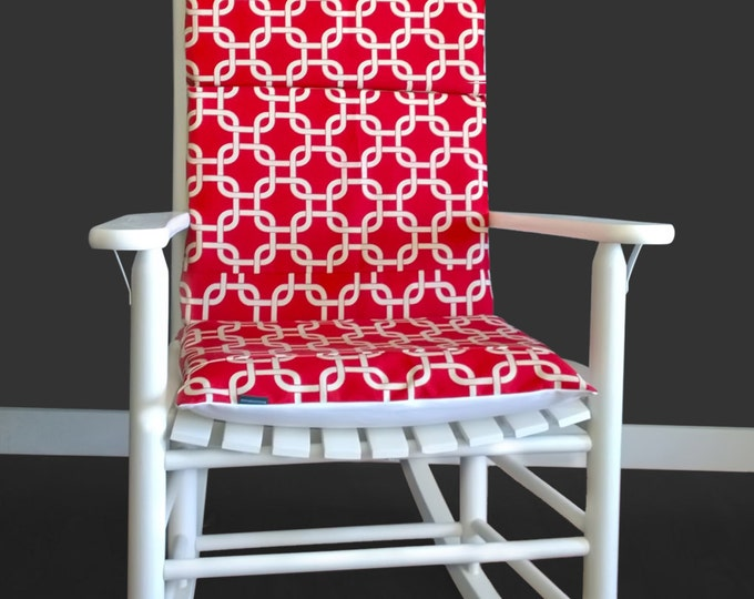 Squares Rocking Chair Pad, Red Patterned Covers