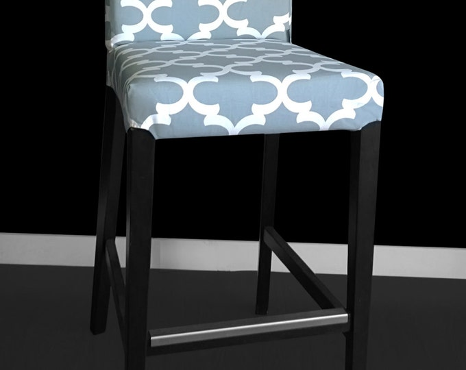 Gray Indian Theme IKEA HENRIKSDAL Stool Chair Cover