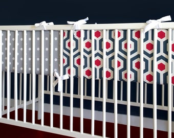 Navy Red Geometric Chevron Cot Crib Bumper