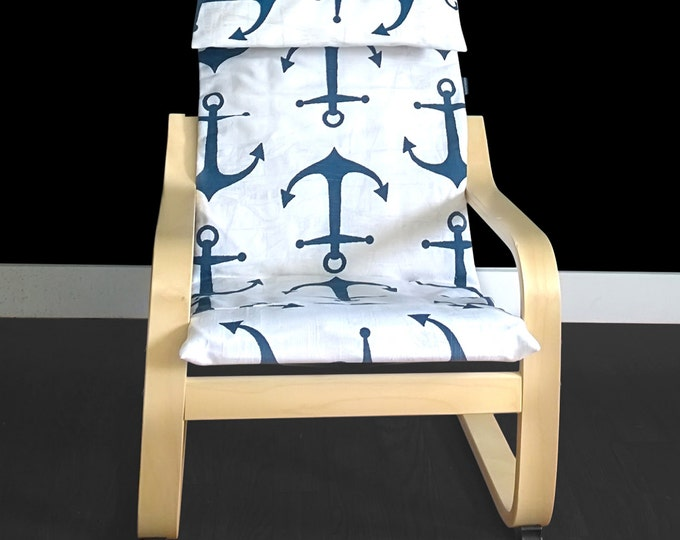 Navy Blue Anchors KIDS POÄNG Cushion Slipcover, Ready to Ship