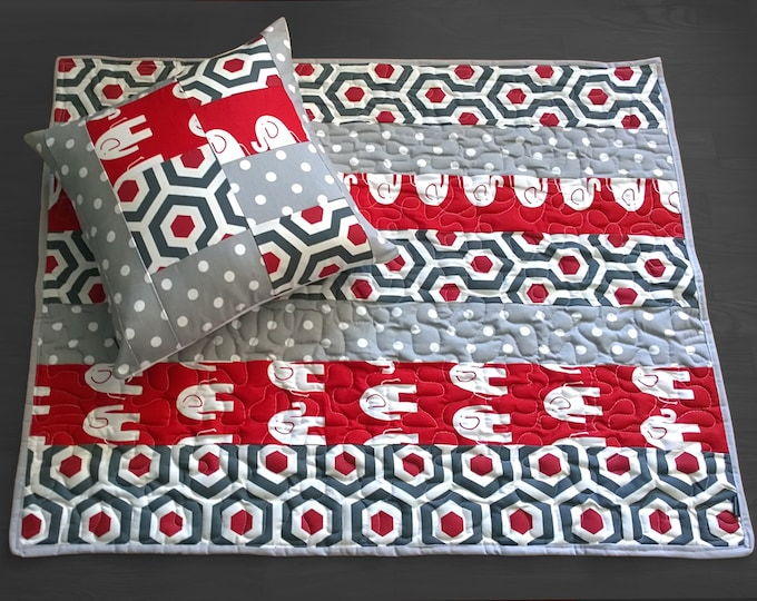 Quilted Baby Playmat - Red, Blue, Grey Elephants, Polka Dot, Magna, Ready to Ship