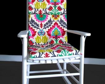 Nursery Flowers Rocking Chair Cushion, Custom Chair Covers, Flower Print Covers