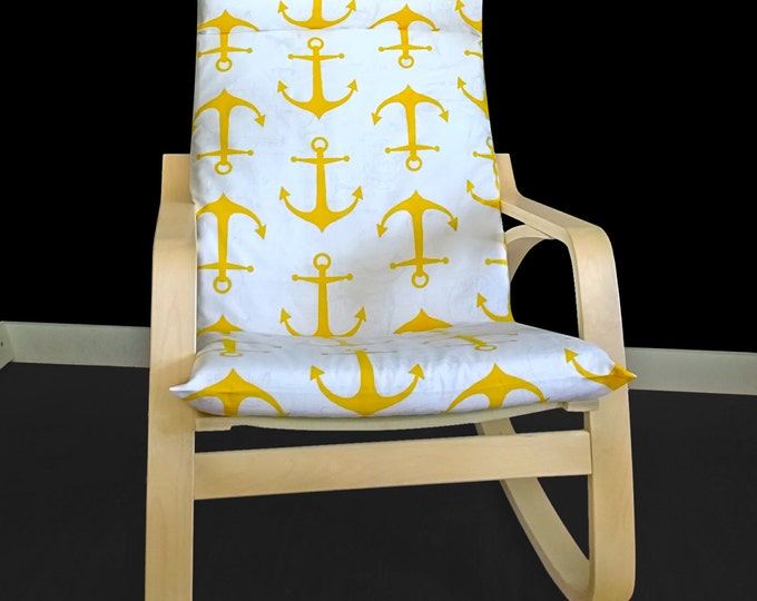 Yellow Anchor IKEA POÄNG Cushion Chair Cover, Customized Ikea Covers, Ikea Pad Seat Covers