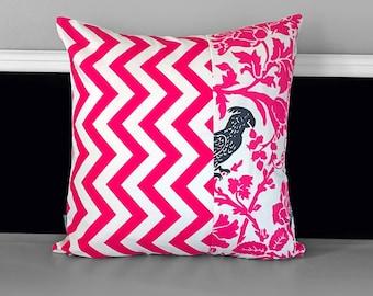 Candy Pink Chevron Cockatoo Cushion Cover 18 x 18