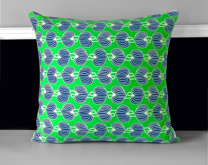 "Green Chinese Lanterns Pillow Cover 18"" x 18"", Ready to Ship"