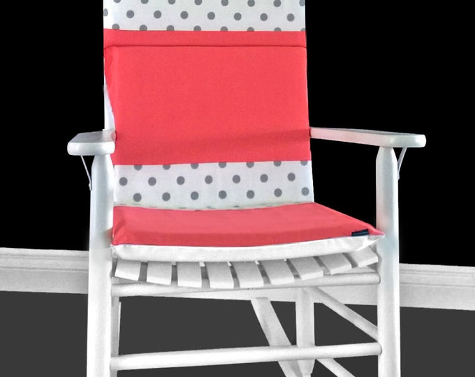Coral Pink Polka Dot Rocking Chair Cover