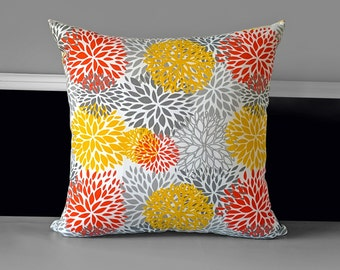 "Blooms Orange Red, Yellow Pillow Cover 18"" x 18"""
