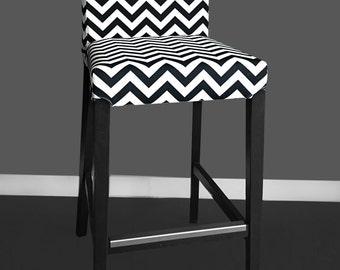 Black White Zig Zag HENRIKSDAL Bar Stool Cover, Chevron Henriksdal Chair Cover