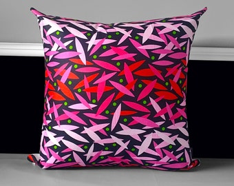 "Pink Black Sticks Pillow Cover 20"" x 20"", Ready to Ship"
