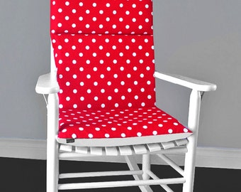 Red White Polka Dot Reversible Rocking Chair Cushion And Cover