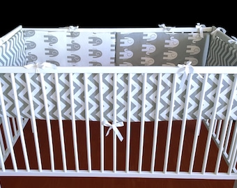 Reversible Grey White Elephant Chevron Cot Crib Bumper Ready to Ship