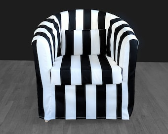 IKEA Tullsta Chair Cover Black White Stripe, French Style Summer House Ikea Decor, Outdoor Stripe Chair Cover Custom Chair Slip Cover