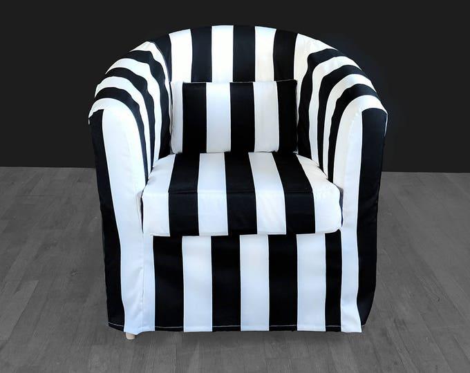 Black White Stripe IKEA TULLSTA Chair Covers, Summer House Ikea Decor, Outdoor Stripe Chair Cover Custom Chair Slip Cover